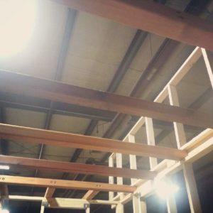Loft beams in place