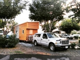 Ford F350 towing the Tiny Project tiny house