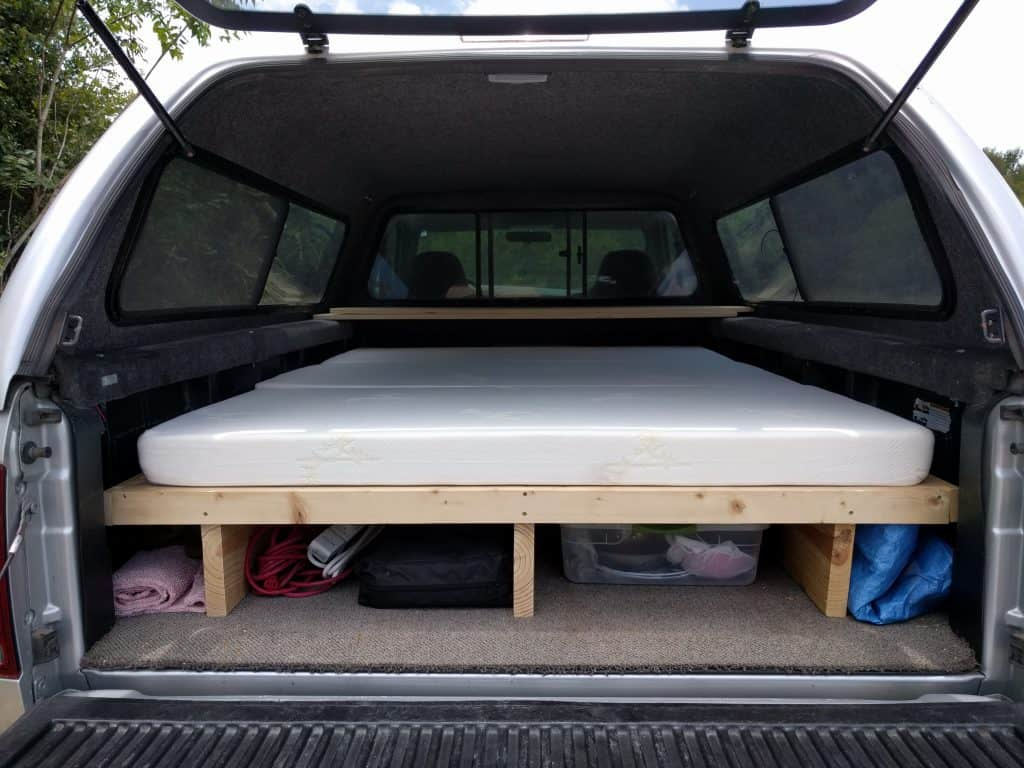 truck camping bed platform storage